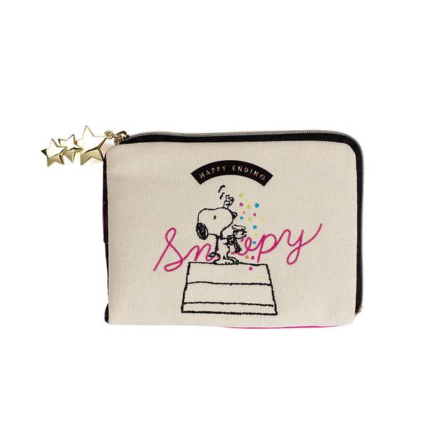 SNOOPY彩色派對系列帆布口罩面紙收納包(粉)★funbox生活用品★SHO-BI_SB04495