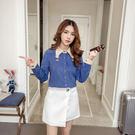 VK精品服飾 韓國學院風復古氣質顯瘦雪紡襯衫襯衫長袖上衣