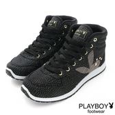 PLAYBOY 玩美風采~亮蔥拼接內增高休閒鞋-黑(女)