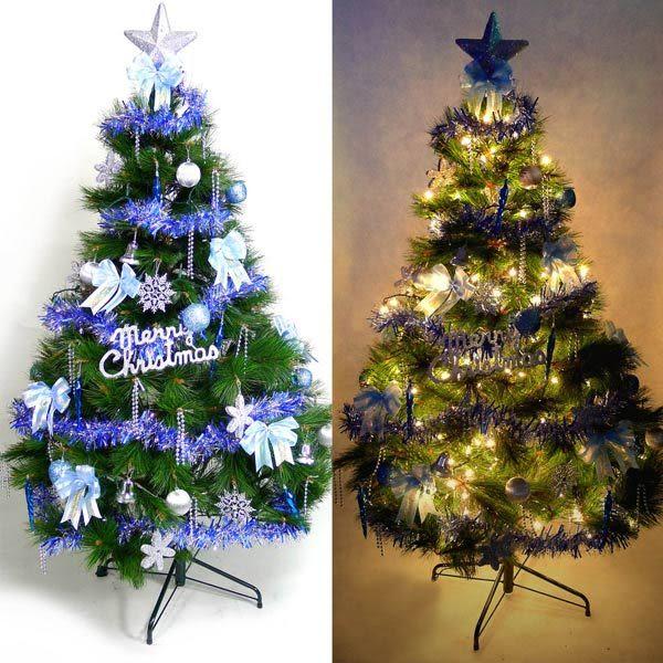 【摩達客】台灣製5尺/5呎(150cm)特級綠松針葉聖誕樹 (+飾品組-藍銀色系)(+100燈鎢絲樹燈串2串)