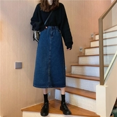 牛仔裙 春夏復古港味中長款高腰裙子顯瘦開叉包臀牛仔半身裙女裝 爾碩