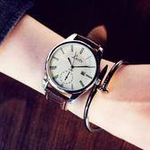 手錶 大錶盤女錶皮帶男錶休閒情侶超薄防水石英手錶 巴黎春天