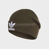 adidas 毛帽 Trefoil Beanie 墨綠 白 三葉草 帽子 男女款 【ACS】 DH4298