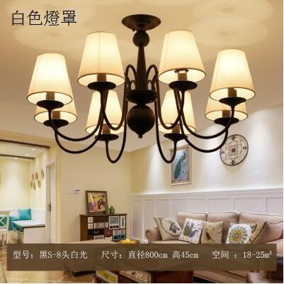 美術燈 臥室現代簡約餐廳燈大氣複古田園鐵藝歐式吊燈-不含光源(S-8頭)