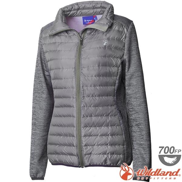 Wildland 荒野 0A62991-91淺灰色 女彈性針織拼接羽絨外套 保暖雪衣羽絨服/防寒禦寒夾克/防風羽絨衣*
