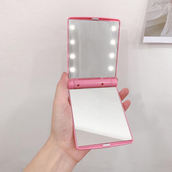 韓國ins少女心粉色LED燈隨手補妝鏡可愛公主化妝鏡便攜折疊小鏡子