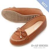 D+AF 輕恬舒適.MIT流蘇造型平底樂福鞋*棕