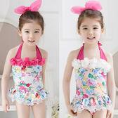 童泳裝 女童碎花綁帶式連身泳衣(含泳帽) S6D005