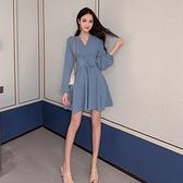 雪紡洋裝 長袖連身裙秋裝2021年新款雪紡仙女超仙森系束腰收腰顯瘦氣質裙子 嬡孕哺 新品