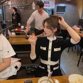超殺29折 韓國輕熟小香風黑白拼色修身長袖洋裝