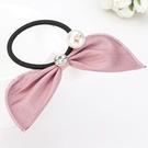 ►珍珠水鑽皮質兔耳朵髮繩 韓國髮飾頭繩【B5010】