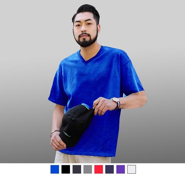 【男人幫】T0074*加厚不變型【100%純棉高磅數厚款素色V領T恤】粉紅/寶藍/果綠/草綠/桔