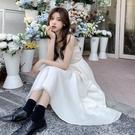 雪紡洋裝 白色吊帶連衣裙女裝2021新款春季秋法式超仙森系溫柔風雪紡長裙子
