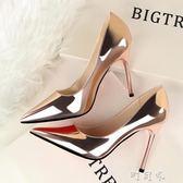 韓版春時尚尖頭銀色漆皮細跟高跟鞋百搭氣質OL單鞋潮 盯目家