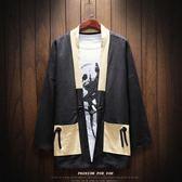 漢服男個性和風開襟古風中國風道袍男士外套2018新款民族風七分袖 熊貓本