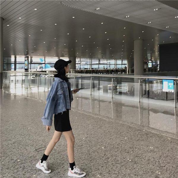 快速出貨 牛仔外套女春秋韓版寬鬆學生bf百搭長袖復古港風chic短款牛仔衣