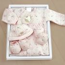 GMP BABY台灣製粉彩夾棉兩用兔裝 粉 彌月禮盒1組