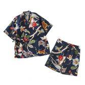 日系睡衣-棉麻花鳥復古印花睡衣女士個性和風情侶浴衣寫真溫泉浴衣-奇幻樂園