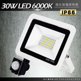 DIY紅外線感應戶外超薄LED泛光燈30W白光6000K洗牆燈/探照燈/投射燈-電壓110V