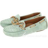 BOTTEGA VENETA 麂皮編織綁帶莫卡辛鞋(綠色) 1510380-08