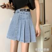 半身裙 夏季2020新款短裙高腰顯瘦包臀A字不規則百褶裙牛仔半身裙女裙子 快速出貨