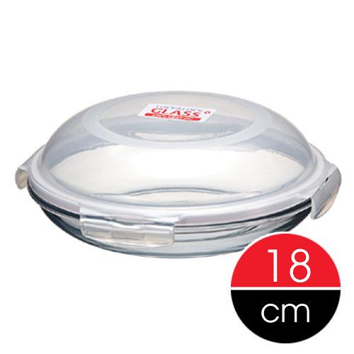 樂扣樂扣微波烤箱玻璃保鮮盒保鮮盤18cm圓型餐盤子可直接上桌LLG883-大廚師百貨