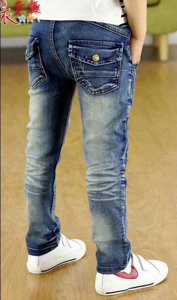 衣童趣 ♥時尚中大男童 帥氣拉鍊造型 口袋扣子 刷白 貼身小腳褲 百搭款牛仔長褲【加厚刷毛款】