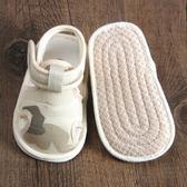 寶寶布涼鞋包頭0-1歲小孩學步鞋夏季軟底~