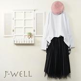 J-WELL 前短後長格紋拼接上衣壓摺裙二件組(組合A565 9J1069白+9J1034黑)