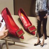 婚鞋水鉆新娘鞋伴娘紅色高跟鞋女細跟百搭尖頭單鞋女新款 JY537【大尺碼女王】