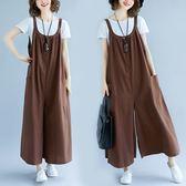 棉麻 寬大顯瘦吊帶褲-大尺碼 獨具衣格
