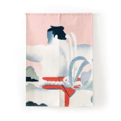 可愛時尚棉麻門簾E128 廚房半簾 咖啡簾 窗幔簾 穿杆簾 風水簾 (85cm寬*90cm高)