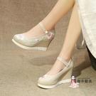 漢服鞋 2020春復古繡花鞋超高跟9厘米楔形布鞋古風女單鞋子