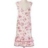尼德斯Nydus 日本正版 雜貨 廚房 粉紅小碎花鄉村風 圍裙 低胸腰身 付口袋 長度約98cm 日本製
