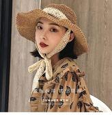 雙12購物節   韓版可折疊手工草帽夏蕾絲綁帶大帽檐海邊遮陽帽防曬度假沙灘帽子   mandyc衣間