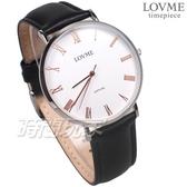 LOVME 羅馬時刻 都會風格 真皮腕錶 防水 藍寶石水晶 男錶 白色 VL3012M-23-241