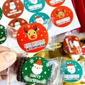 【BlueCat】聖誕節雪花底 老人麋鹿 圓形封口貼紙 (8枚入)