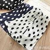女童寬管褲夏季薄款韓版兒童洋氣圓點雪紡寶寶百褶寬鬆七分喇叭褲 怦然心動