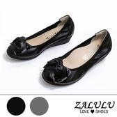 ZALULU愛鞋館 Z1107 嚴選真羊皮 OL最愛久站不累氣質抓皺蝴蝶結楔型鞋-偏大-黑色/灰色-35-40