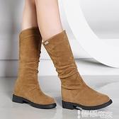 中筒靴 中筒靴女春秋單靴2021秋季新款百搭平底靴子短靴騎士靴網紅瘦瘦靴 智慧e家 新品