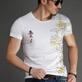 短袖T恤男 韓版潮流 休閒上衣 夏季短袖印花T恤 時尚圓領修身上衣wx3339