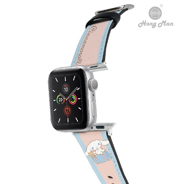 三麗鷗系列 Apple Watch 皮革錶帶 Cinnamoroll 旅行大耳狗(銀)