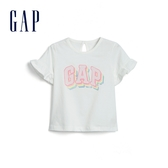 Gap 嬰兒 Logo創意木耳邊短袖T恤 580522-光感亮白