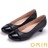 ORIN 典雅OL 嚴選質感牛皮拼接百搭低跟鞋-黑色