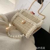 包包女新款正韓時尚珍珠手提百搭鏈條單肩斜挎小方包 交換禮物