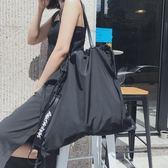 一件85折-束口袋抽繩袋飄帶後背包可單肩大容量防水健身包