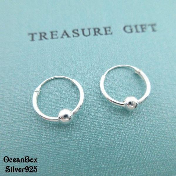 ☆§海洋盒子§☆1.2cm~小球圈圈耳環《925純銀》 耳垂