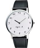 agnes b. 法國時尚藝術腕錶-白/黑 VJ20-K240LB(BJ5004X1)