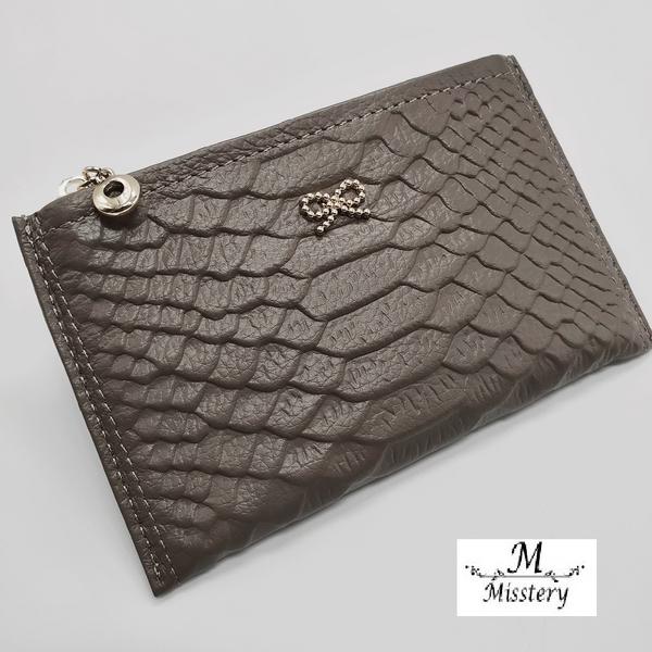 【Misstery】零錢包牛皮壓紋鑰匙零錢皮夾-灰A99-022LGR