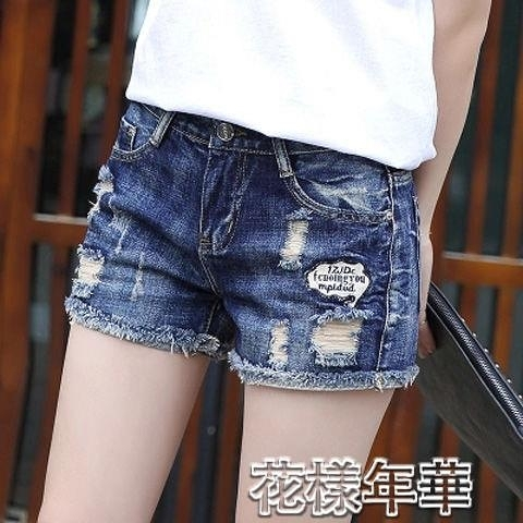短褲破洞牛仔短褲女夏裝新款女裝顯瘦百搭高腰卷邊熱褲子潮 快速出貨
